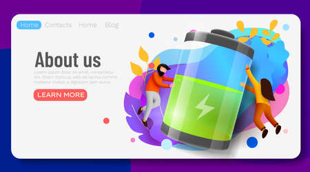 Landing page. People Carry Huge Battery with Low Charging Level. Energy concept.