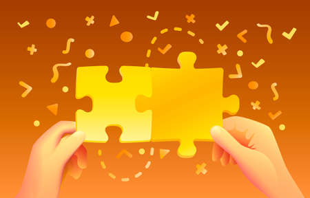Hands hold puzzle on colored background with many icons. Vector