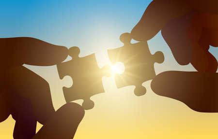 Hands hold a puzzle on a sunny background. Vector Ilustração