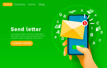 Mobile email message, chat internet, web site banner design. Vector