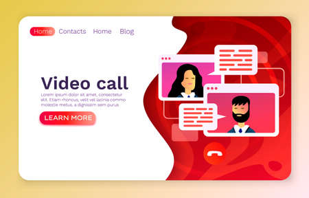 Video call mobile chat, concept people talk, web banner app. Vector 矢量图像