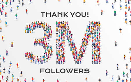 3M Followers. Group of business people are gathered together in the shape of three million sign, for web page, banner, presentation, social media, Crowd of little people. Teamwork. Vector illustration 矢量图像