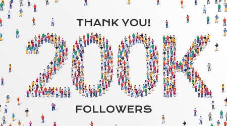 200K Followers. Group of business people are gathered together in the shape of 200000 word, for web page, banner, presentation, social media, Crowd of little people. Teamwork. Vector illustration