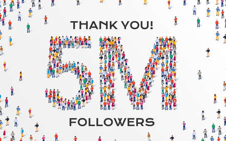 5M Followers. Group of business people are gathered together in the shape of five million sign, for web page, banner, presentation, social media, Crowd of little people. Teamwork. Vector illustration