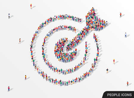 Large group of people seen from above gathered together in the shape of a target with arrow icon. Vecteurs