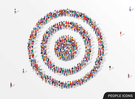 Large group of people seen from above gathered together in the shape of a target. Ilustração