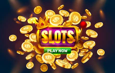 Play now slots golden coins, casino slot sign machine, night jackpot Vegas. Vector
