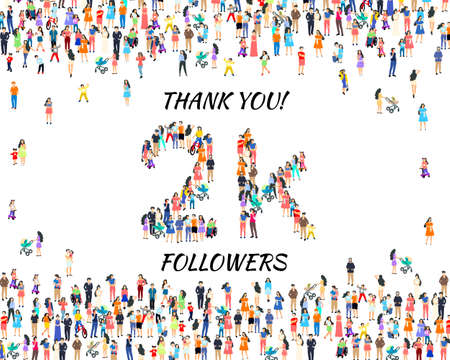 Thank you followers peoples, 2k online social group, happy banner celebrate, Vector Иллюстрация