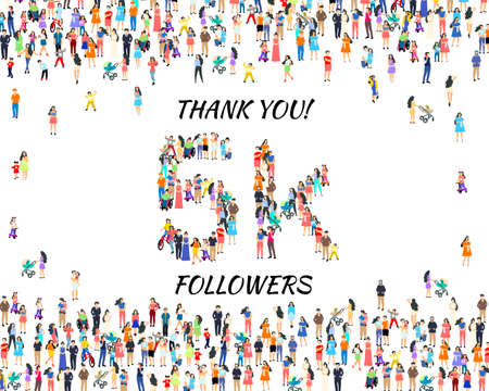 Thank you followers peoples, 5k online social group, happy banner celebrate, Vector
