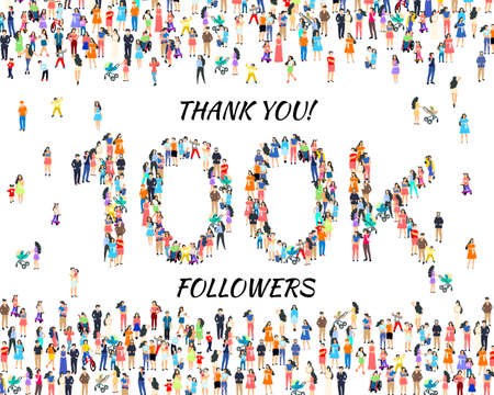 Thank you followers peoples, 100k online social group, happy banner celebrate, Vector