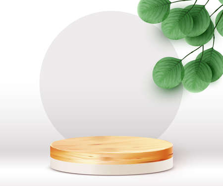 Abstract scene background. Cylinder wood podium on white background with leaves. Product presentation, mock up, show cosmetic product, Podium, stage pedestal or platform.