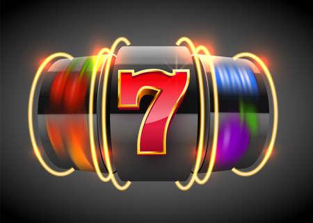 Black Neon slot machine wins the jackpot. 777 Big win casino concept.