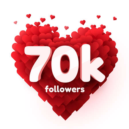 Followers thank you. Red heart for Social Network friends, followers, Web user Thank you celebrate of subscribers or followers and likes.
