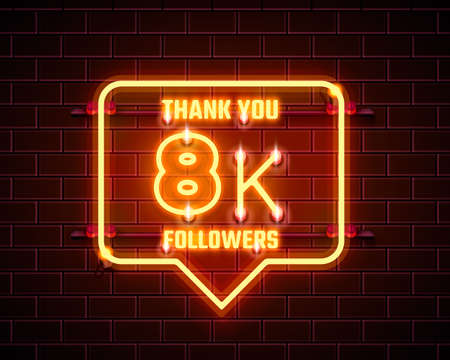 Thank you followers peoples, 8k online social group, happy banner celebrate, Vector