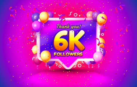 Thank you followers peoples, 6k online social group, happy banner celebrate, Vector