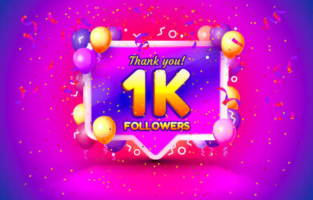 Thank you followers peoples, 1k online social group, happy banner celebrate, Vector 向量圖像
