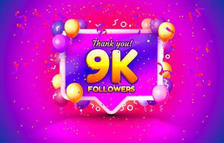 Thank you followers peoples, 9k online social group, happy banner celebrate, Vector