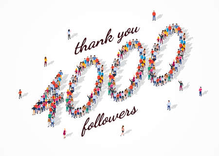 4K Followers. Group of business people are gathered together in the shape of 4000 word, for web page, banner, presentation, social media, Crowd of little people. Teamwork. Vector illustration