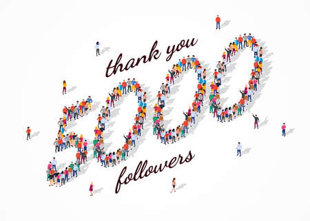 5K Followers. Group of business people are gathered together in the shape of 5000 word, for web page, banner, presentation, social media, Crowd of little people. Teamwork. Vector illustration 矢量图像