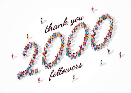 2K Followers. Group of business people are gathered together in the shape of 2000 word, for web page, banner, presentation, social media, Crowd of little people. Teamwork. Vector illustration