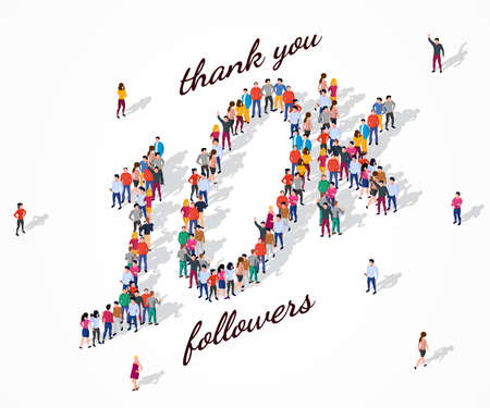 10K Followers. Group of business people are gathered together in the shape of 10000 word, for web page, banner, presentation, social media, Crowd of little people. Teamwork. Vector illustration 矢量图像