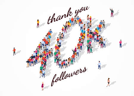 40K Followers. Group of business people are gathered together in the shape of 40000 word, for web page, banner, presentation, social media, Crowd of little people. Teamwork. Vector illustration