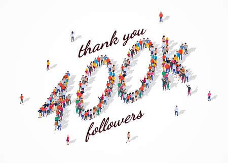 400K Followers. Group of business people are gathered together in the shape of 400000 word, for web page, banner, presentation, social media, Crowd of little people. Teamwork. Vector illustration