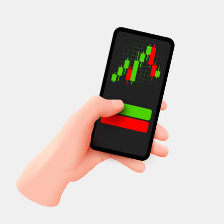 Hand holds mobile phone. Market trend analysis on smartphone with line chart and graphs. Design infographic, statistics on screen. Mobile technology concept.