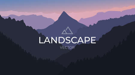 Vector landscape with silhouettes of mountains. Nature background. Ilustrace