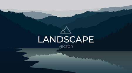 Vector landscape with silhouettes of mountains and water. Mountain lake. Nature background.