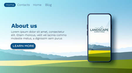 Summer fields landscape, green hills, bright color blue sky, country. Smartphone screen wallpaper mockup. Background in flat cartoon style, banner. Ilustración de vector