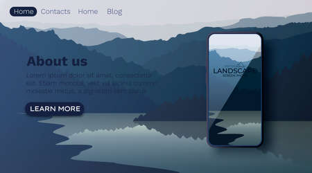Vector landscape with silhouettes of mountains and water. Mountain lake. Smartphone screen wallpaper mockup. Nature background.