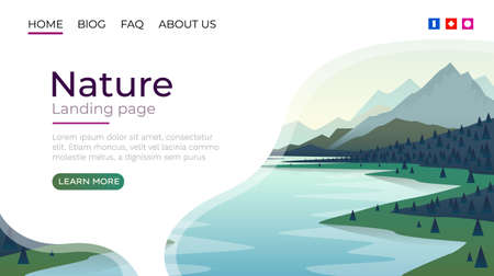 Landing page screen, nature landscape template cover. website background. Vector