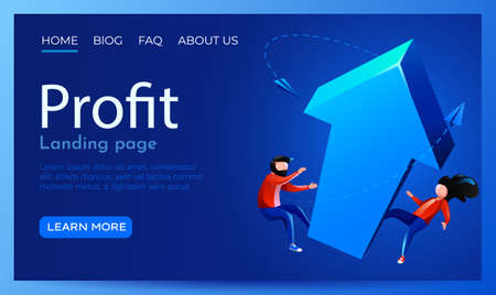 People fly around rising arrow. Investment, profit and financial success. Landing page website template.