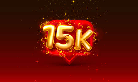 Thank you followers peoples, 15k online social group, happy banner celebrate, Vector illustration