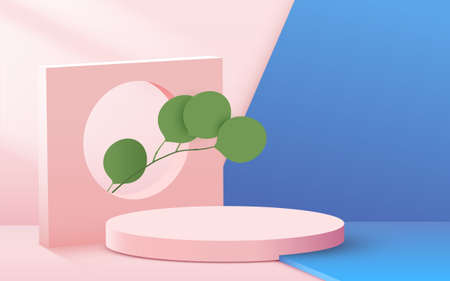 Abstract scene background. Cylinder podium with leaves on pink background. Product presentation, mock up, show cosmetic product, Podium, stage pedestal or platform.