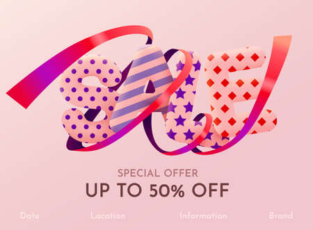 Discount Sale banner or poster design on bright pink background. Sale word composition with confetti.