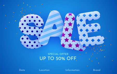 Discount Sale banner or poster design on bright blue background. Sale word composition with confetti.