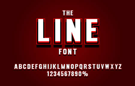 Red line font set collection, letters and numbers symbol. Vector  イラスト・ベクター素材