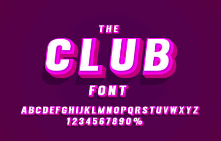 Club font set collection, letters and numbers symbol. Vector