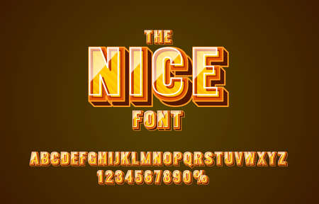 Nice line font set collection, letters and numbers symbol. Vector