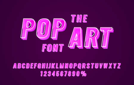 Pop art font set collection, letters and numbers symbol. Vector  イラスト・ベクター素材
