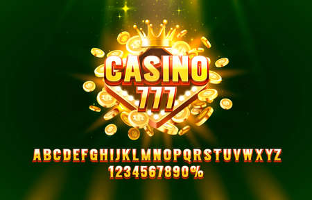 Casino 777 font set collection, letters and numbers symbol. Vector  イラスト・ベクター素材