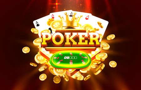 Poker label frame, golden banner, border winner, Vegas game. Vector