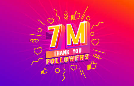 Thank you 7 million followers, peoples online social group, happy banner celebrate, Vector