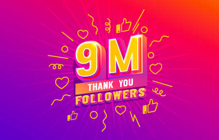 Thank you 9 million followers, peoples online social group, happy banner celebrate, Vector