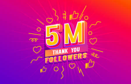 Thank you 5 million followers, peoples online social group, happy banner celebrate, Vector  イラスト・ベクター素材