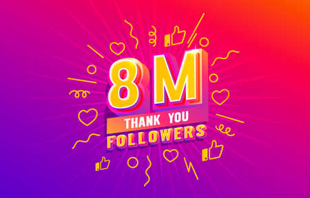 Thank you 8 million followers, peoples online social group, happy banner celebrate, Vector