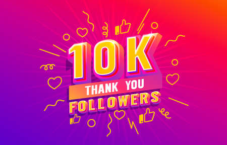 Thank you 10k followers, peoples online social group, happy banner celebrate, Vector