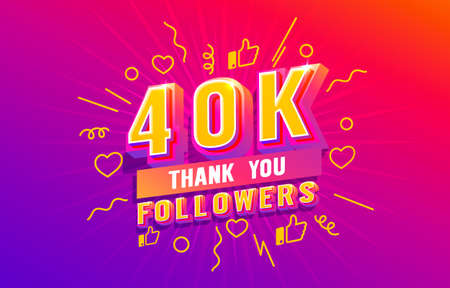 Thank you 40k followers, peoples online social group, happy banner celebrate, Vector  イラスト・ベクター素材